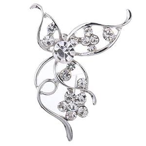 Amybria h¨¹bsche Art Alloy Silver Leaf Flower Design Kristall Brosche f¨¹r Frauen