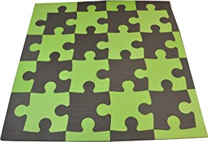 Tadpoles 21 Sq Ft Puzzle Pieces Playmat Set, Green/Brown