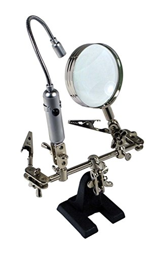 SE-MZ1013FL-Helping-Hand-Magnifier-with-Flexible-Neck-LED-Flashlight-New-Free