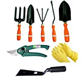Easy Gardening - Garden Tools Kit (8Tools) Weeder,Trowel Big,Trowel Small,Cultivator,Fork, Pruner, Khurpi, Yellow...