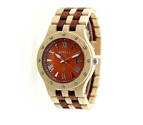 Armbanduhr Zifferblatt Holz ~ Herren Armbandhr aus Holz  Rotes Zifferblatt 46 mm, Armband aus
