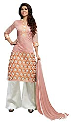 Suchi Fashion Peach & Cream Embroidered Chanderi Dress Material