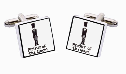 Sonia Spencer England Bone China Square Silver Plated Back Classic Brother Of The Groom Cufflink