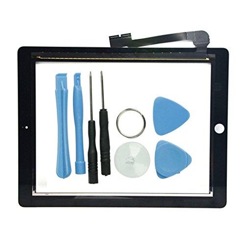 FAVOLCANO Frontscheibe+Touchscreen Digitizer Ersatz Vorderer Glasdisplay für iPad 3 4 4th A1460 A1459 A1458 mit Werkzeug Reparatur Set Schwarz