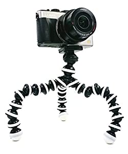BLISS - M-Size Octopus Style Portable Flexible Tripod Stand Holder for iPhone DSLR Camera Mobile Cell Phone, Bendable Adjustable Mini Webcam Mount - Grey and Black