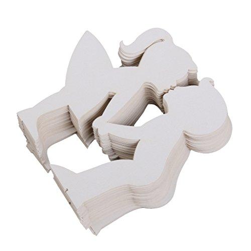 Lot de 50pcs Carte de Verre Marque Place Forme de Couple Décoration de Table pour Cérémonie de Mariage (Blanc)