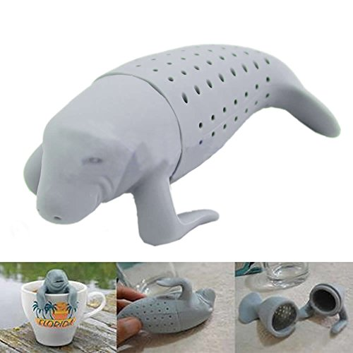 Best Review Of HeroNeo® Silicone Manatee Diffuser Infuser Loose Tea Leaf Strainer Herbal Spice Filt...
