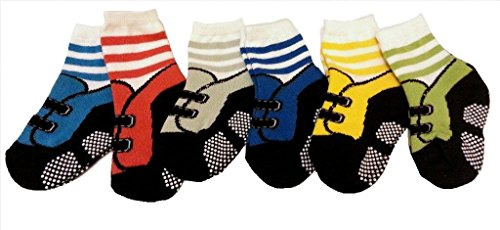 Baby Boys' 6 Pack Antislip STRIPED Socks Medium (Age 1 to 3) Multicoloured