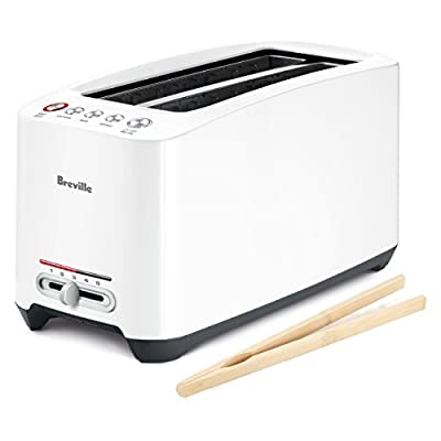 Breville White Lift and Look Touch Toaster with Free Bamboo Toast Tongs by Breville