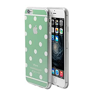 iPhone 6s Plus Case, iPhone 6 Plus Case, Comele Rhythm Series Mint Green+White Polka Dots Case Protective Case Bumper Case [Shock Absorbent] [Ultra Thin] [Light Weight] [Scratch Resistant] [Perfect Fit] Soft TPU Back Cover fo