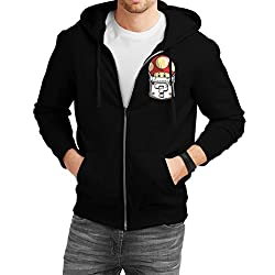 Fanideaz Men's Cotton Mario Mushroom Printed Pocket Zipper Sweatshirt with Hood_Black_S