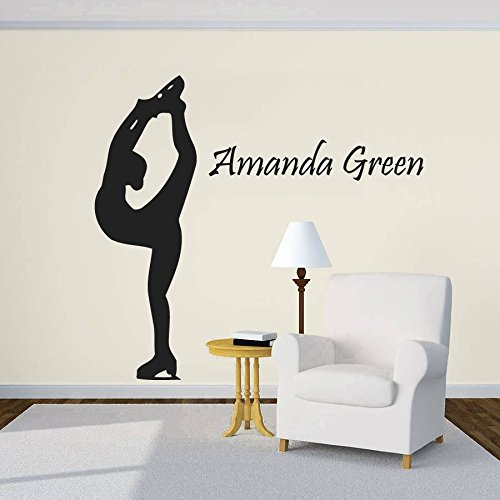 Wall Decal Vinyl Sticker Decals Art Decor Design Figure Skating Skater Sport Game Girl Beauty Beach Custom Name Dorm Bedroom Fashion (r619)