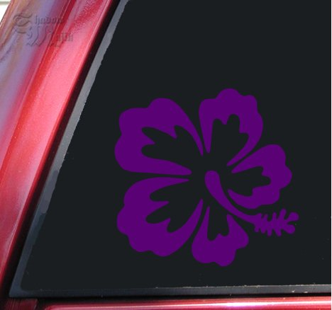 Hibiscus Hawaiian Flower Vinyl Decal Sticker - Purple