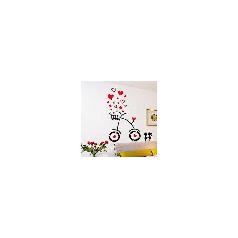 Modern House Heart Kiss Lover Bike removable Vinyl Mural Art Wall Sticker Decal