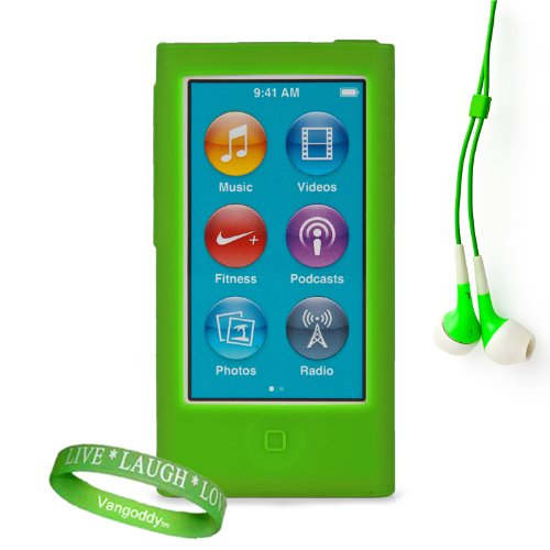 Uniquely Vibrant Green Silicone Skins For All Models Of The Apple Ipod Nano 7 (7Th Generation, 7G, Slate, Blue, Pink, Purple, Yellow, Silver, 16Gb, 32Gb, 64 Gb, Newest Model) + Ipod Nano 7 Compatible Earbud Earphones + Vangoddy Brand Wrist Band