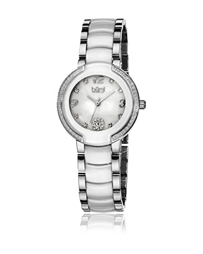 Burgi Watch Women'S Mother Of Pearl Crystal Ceramic Watch Bianco / Argento