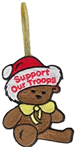 """Support Our Troops Bear 3"""" Christmas Ornament"""