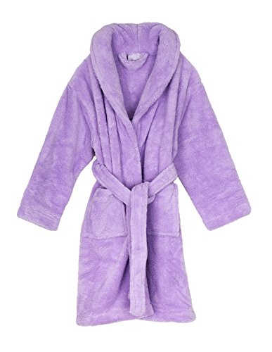 TowelSelections Little Girls' Plush Shawl Robe Soft Fleece Bathrobe Size 6 Lavender
