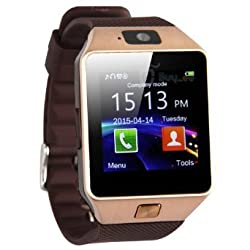 Brotherhood Latest Model DZ09 Bluetooth wearable Smart Watch Wristwatch GSM Phone Camera and SMS Message Support For Android Samsung Support IOS Apple Phones Sony HTC Golden Brown Gold