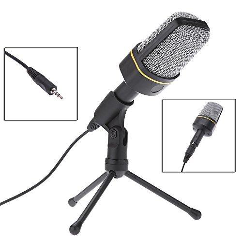Andoer Nuovo Classico Professionale 3,5 mm Microfono a Condensatore Karaoke Chiacchiera Microfono con Speciale Treppiede per Tablet PC Desktop Laptop Studio Notebook MP3 Registratore.