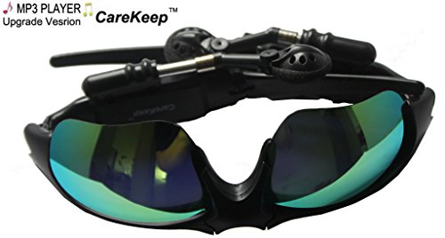 Carekeep Fashion Deluxe Built In 4Gb Sunglass Sun Glass Sports Sport Headset Headphone Mp3 Wma Player Mirror Green Lens