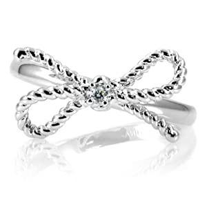 Bow Promise Ring - Silver Remember Bow Size 9