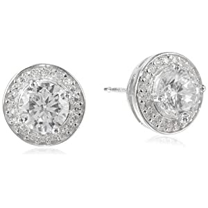 Sterling Silver Cubic Zirconia Round Halo Stud Earrings