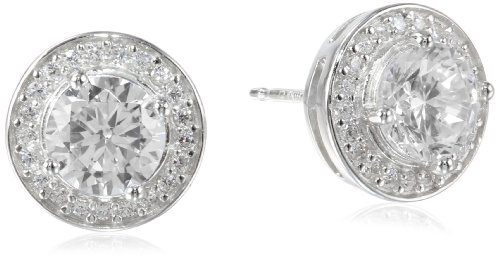 Sterling Silver Simulated Diamond Round Halo