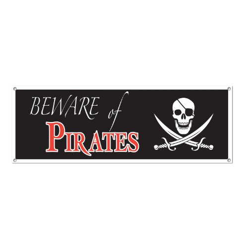 Beware Of Pirates Sign Banner Party Accessory (1 count) (1/Pkg) - 1
