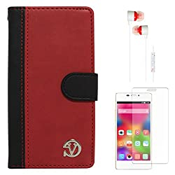 VanGoddy Premium Self Stand Mary Wallet Flip Book Cover Case for Gionee Elife S5.1 (Red) + White Earphones + Screen Guard