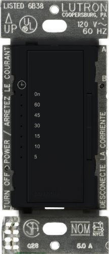 Lutron Ma-T51Mn-Bl Maestro 600-Watt 3-Amp Multi-Location Digital Countdown Timer Control Switch, Black