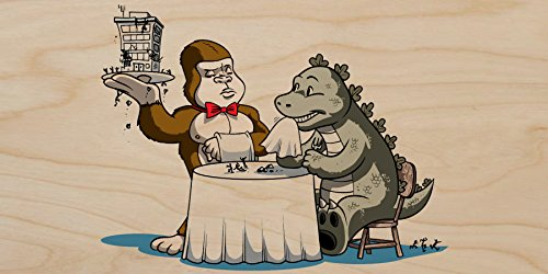 """""""Dinner Is Served"""" Funny Classic Movie Monster Restaurant Parody - Plywood Wood Print Poster Wall Art front-526764"""