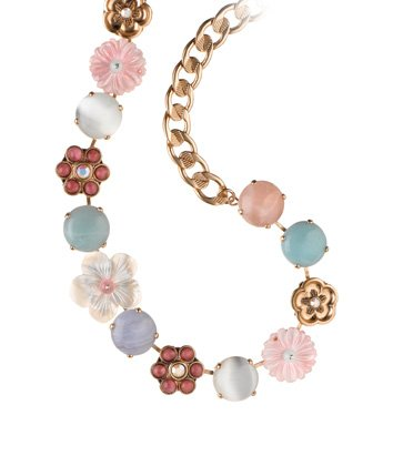 24K Rose Gold Plated Beautiful Collar Necklace by Amaro Jewelry Studio 'Flow' Collection with Flower Elements, Amazonite, Blue Lace Agate, Rose Quartz, Pearl, Mother of Pearl, Pink Mussel Shell, Variscite and Swarovski Crystals