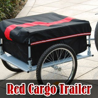 Red/Black Steel Cargo Bicycle Trailer Carrier