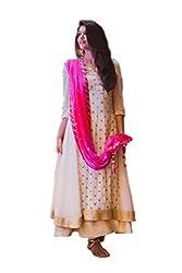 SK Fashion Women's White Georgette Anarkali Unstitched Salwar Suit Dress Material (Dress_191_FreeSize_White )