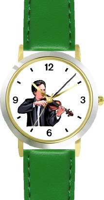 Watchbuddy Male Violin Player Or Violinist Classical Musician - Watchbuddy Deluxe Two-tone Theme Watch - Arabic Numbers - Green Leather Strap-size-wom