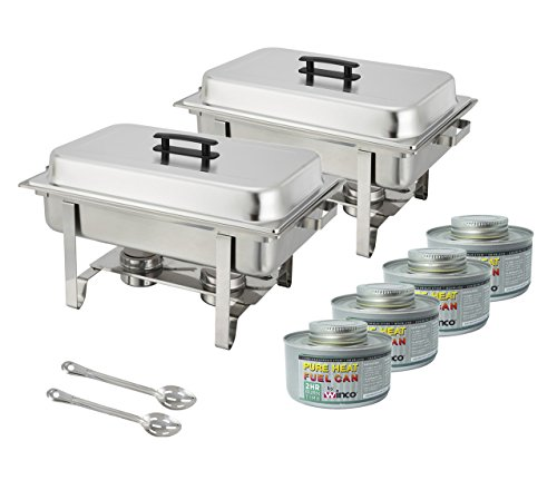 Winware Set of 2 Stainless Steel Full Size Chafer, 8 Quart Chafing Dish Set with 4 Chafing Dish Fuel and 15-Inch Stainless Steel Slotted Serving Spoon