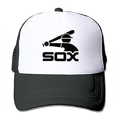 Matthe Music Printed Pattern Chicago White Sox Unisex Half Mesh Adjustable Baseball Cap Hat Snapback Black