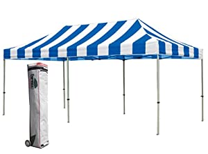 New Eurmax Pop up Commercial Outdoor Party Tent Gazebo Canopy W / Rolling Bag (Striped Blue/White, 10 x 20)
