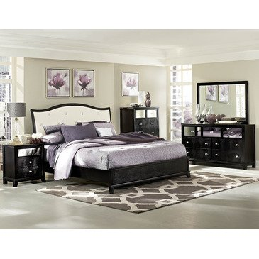 Homelegance Jacqueline 5 Piece Platform Bedroom Set W/ White Bi-Cast Vinyl Headboard In Black Faux Alligator front-1073699