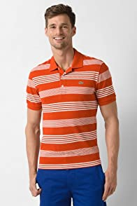 Tall Short Sleeve Cluster Stripe Pique Polo