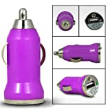 Mobile-Bits4u HTC WINDOWS PHONE 8X Purple Compact Mirco Bullet USB In Car Charger Adapter