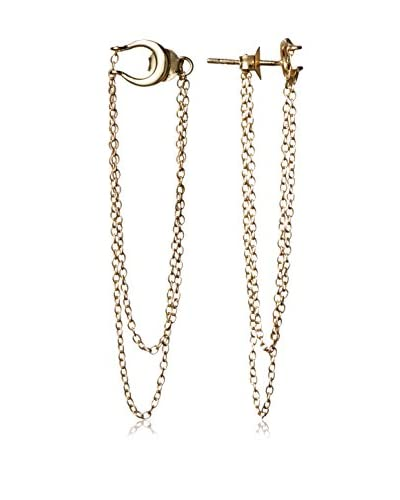 Argento Vivo Chain Front and Back Earring with Cresent Moon