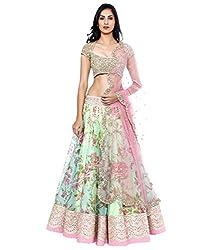 Khazanakart Designer Violet Color Net Fabric Un-stitched Lehenga Choli With Chiffon Dupatta Material.
