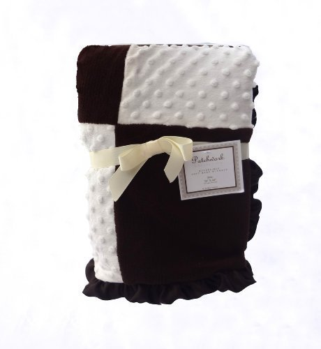 Patchwork Collection Fleece and Minky Baby Blanket (Beige/Chocolate)