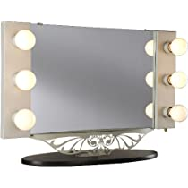 Starlet Table Top Lighted Vanity Mirror - White