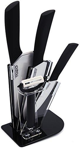 TOZO Ceramic Knife Set - Cutlery Set - Zirconia Ceramic Knife - Kitchen Ceramic Knives Include 6.5 inch Slicing Knife,