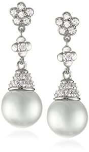 Nina 'Romona' Romantic Pearl and Cubic Zirconia Drop Earrings