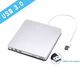 External USB 3.0 Portable CD/DVD RW Drive, Super Speed DVD Drive Burner And Write Superdrive with Built-in USB 3.0 Cable for Apple Macbook-Macbook Pro/Air and Windows PC other Laptops/Desktops