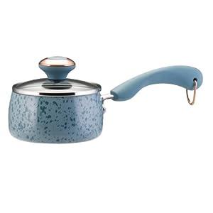 Paula Deen Signature Porcelain 1-Qt Saucepan, Aqua Speckle